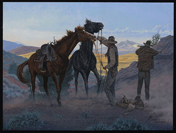 United by Courage, an example of the fine western art by western artist L.D. Edgar
