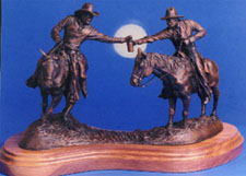 "Front view of ""Moonshine"", a bronze by L.D. Edgar, Western Heritage Studio, Cody Wyoming"