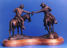 "Rear view of ""Moonshine"", a bronze by L.D. Edgar of Western Heritage Studio, Cody Wyoming"
