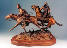 """Stolen Horses - Borrowed Time"", a bronze by L.D. Edgar of the Western Heritage Studio in Cody Wyoming."