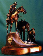 """A Trail Gone Cold"", a bronze by L.D. Edgar, Western Heritage Studio, Cody Wyoming"