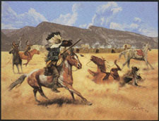 """Sting of the Needle Gun"" by L.D. Edgar, Western Heritage Studio, Cody Wyoming. A print in the Wyoming Heritage Series."