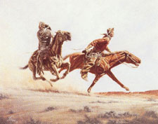 """Stolen Horses - Borrowed Time"" by L.D. Edgar, Western Heritage Studio, Cody Wyoming - historical western prints and bronzes"